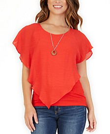 Juniors' Crisscross Popover Top With Necklace