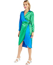 INC Colorblocked Wrap Dress, Created for Macy's