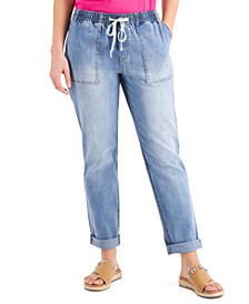INC Drawstring-Waist Slouchy Ankle Jeans, Created for Macy's