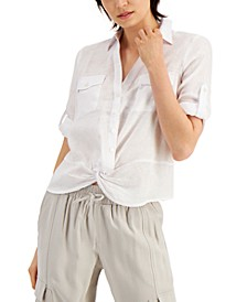 INC Linen Twist-Hem Roll-Tab Blouse, Created for Macy's