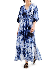 INC Tie-Dye Kimono Maxi Dress, Created for Macy's