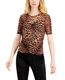 INC Petite Ruched-Front Mesh Top, Created for Macy's