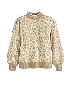 Women's Leopard Puff Shoulder Sweater