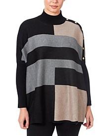 Women's Mock Neck Poncho Sweater