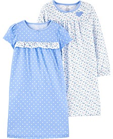 Big Girls 2-Pack Floral Nightgowns