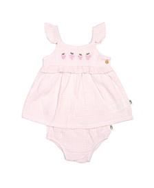 Rabbit + Bear 100% Organic Cotton 2 piece Dress and Diaper Cover set