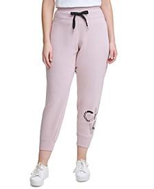 Plus Size Ribbed Logo Jogger Pants