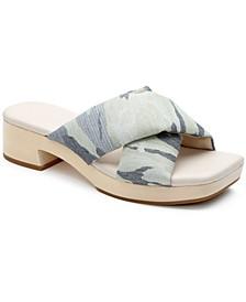 Lively Soft-Leather Wooden Platform Sandals