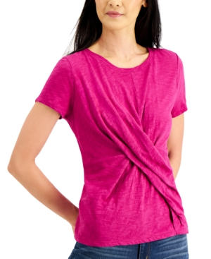 Inc International Concepts T-shirts INC COTTON TWIST-FRONT T-SHIRT, CREATED FOR MACY'S