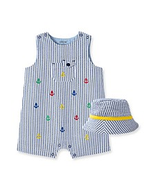 Baby Boys Anchor Sunsuit and Hat Set