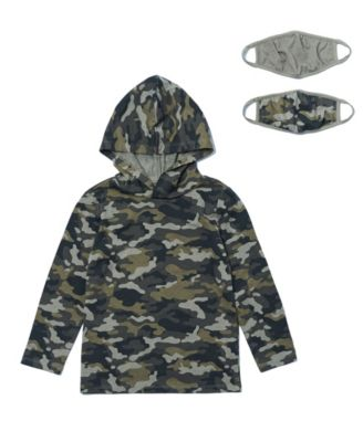 Toddler Boys Long Sleeve Camo Print Hoodie with Matching Face Mask