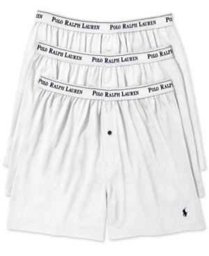 POLO RALPH LAUREN Men'S Underwear, Classic Knit Boxer 3 Pack in White