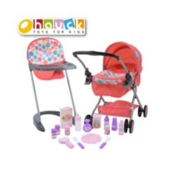 Hauck 17 Piece Folding Pram High Chair with Toy Baby Doll Set