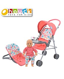 """Hauck 14"""" Toy Baby Doll Travel System with Doll Car Seat and Stroller"""