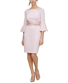 Bell-Sleeve Satin-Trim Dress