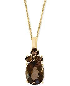 """Green Quartz (2-3/8 ct. t.w.) & Peridot (1/3 ct. t.w.) 18"""" Pendant Necklace in 14k Gold (Also in Smoky Quartz)"""