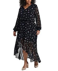 Trendy Plus Size Floral High-Low Dress