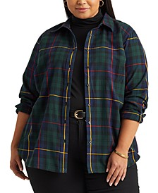 Plus Size Plaid Cotton Shirt