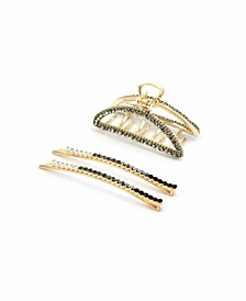 Ombre Crystal Bobby Pin DUO and All Sparkle Crescent Hair Jaw, Set of 2