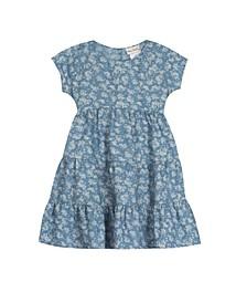 Little Girls Printed Chambray Dress
