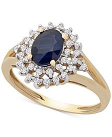 Sapphire (7/8 ct. t.w.) & Diamond (1/4 ct. t.w.) Statement Ring in 14k Gold