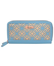 Women's Metallic Laser Cut RFID Slim Double Zip Wallet
