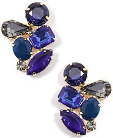 Gold-Tone Multi-Crystal Cluster Stud Earrings