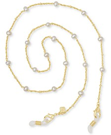 "14k Gold-Plated Genuine Pearl (5mm) 26"" Mask Chain"
