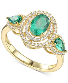 Emerald (1-1/10 ct. t.w.) & Diamond (1/3 ct. t.w.) Statement Ring in 14k Gold