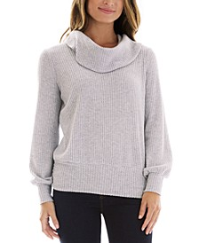 Juniors' Fuzzy Cowlneck Sweater