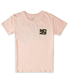 Juniors' Floral-Logo Cotton T-Shirt
