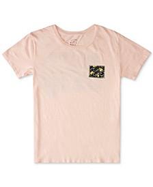 Juniors' Floral-Logo Cotton T-Shirt