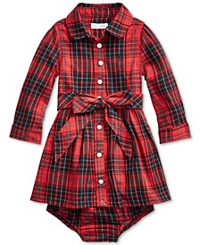 Ralph Lauren Baby Girls Plaid Shirtdress and Bloomer