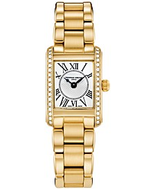 Women's Swiss Classics Carree Diamond (3/8 ct. t.w.) Gold-Tone Stainless Steel Bracelet Watch 23mm