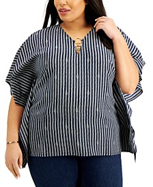 Plus Size Knot-Stripe Ring Top