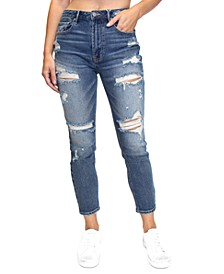 Crave Fame Juniors' Ripped Mom Jeans