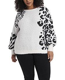 Women's Plus Jacquard Eyelash Knit Sweater