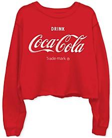 Cotton Coca-Cola-Graphic Cropped Raw-Edge Sweatshirt