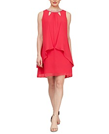 Chiffon Cut-Out Beaded Neckline Dress
