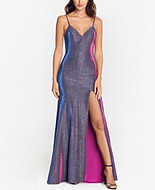 Metallic Strappy-Back Gown