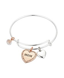 """Crystal """"Mom"""" Heart Adjustable Bangle Bracelet in Stainless Steel and Rose Gold Two-Tone Fine Silver Plated Charms"""