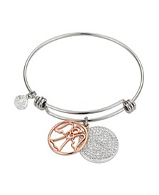 "Pave Crystal ""Angel at Your Side"" Adjustable Bangle Bracelet in Stainless Steel and Rose Gold Two-Tone Fine Silver Plated Charms"