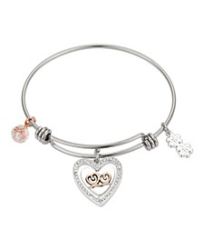 "Crystal ""Sisters Forever"" Heart Adjustable Bangle Bracelet in Stainless Steel and Rose Gold Two-Tone Fine Silver Plated Charms"