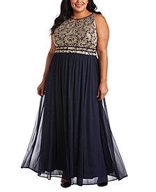 R & M Richards Plus Size Lace Gown
