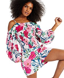 INC Printed Off-The-Shoulder Ruffle Blouse, Created for Macy's