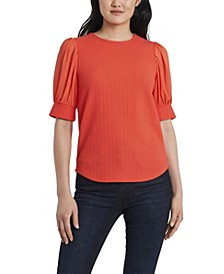 Women's Textured Knit Top with Chiffon Sleeves