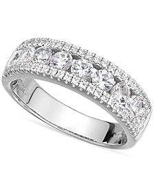 Sterling Silver Swarovski Zirconia Three-Row Ring (2-1/10 ct. t.w.)