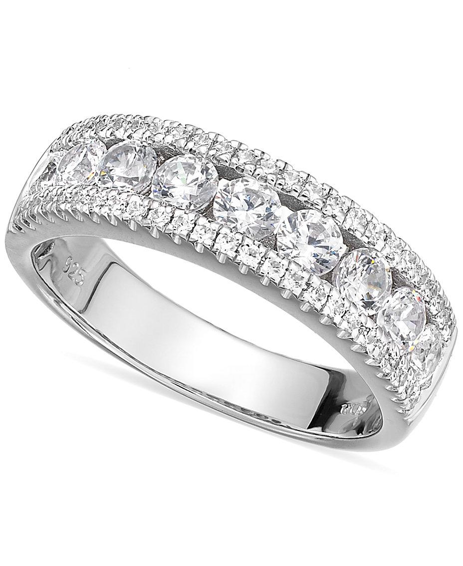 3217e8086eb08 Arabella Sterling Silver Swarovski Zirconia Three-Row Ring (2-1/10 ...