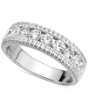 Sterling Silver Cubic Zirconia Three-Row Ring (2-1/10 ct. t.w.)