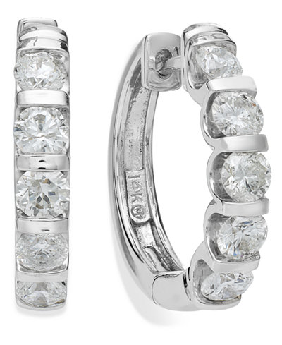 14k White Gold Diamond Hoop Earrings (2 ct. t.w.)
